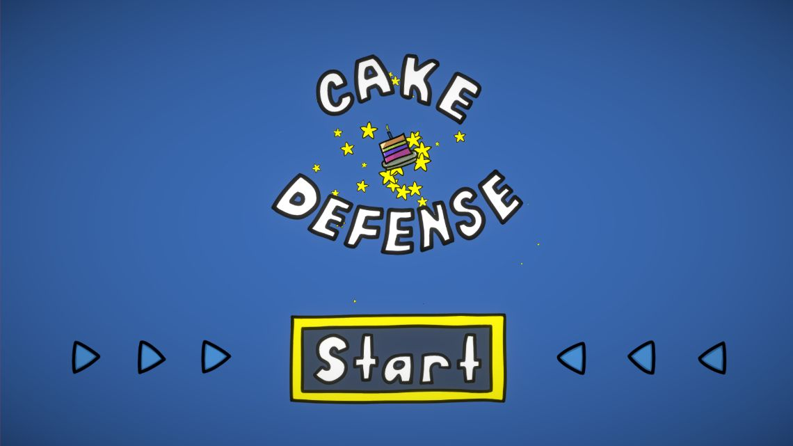 A screenshot of the Cake Defense start screen.