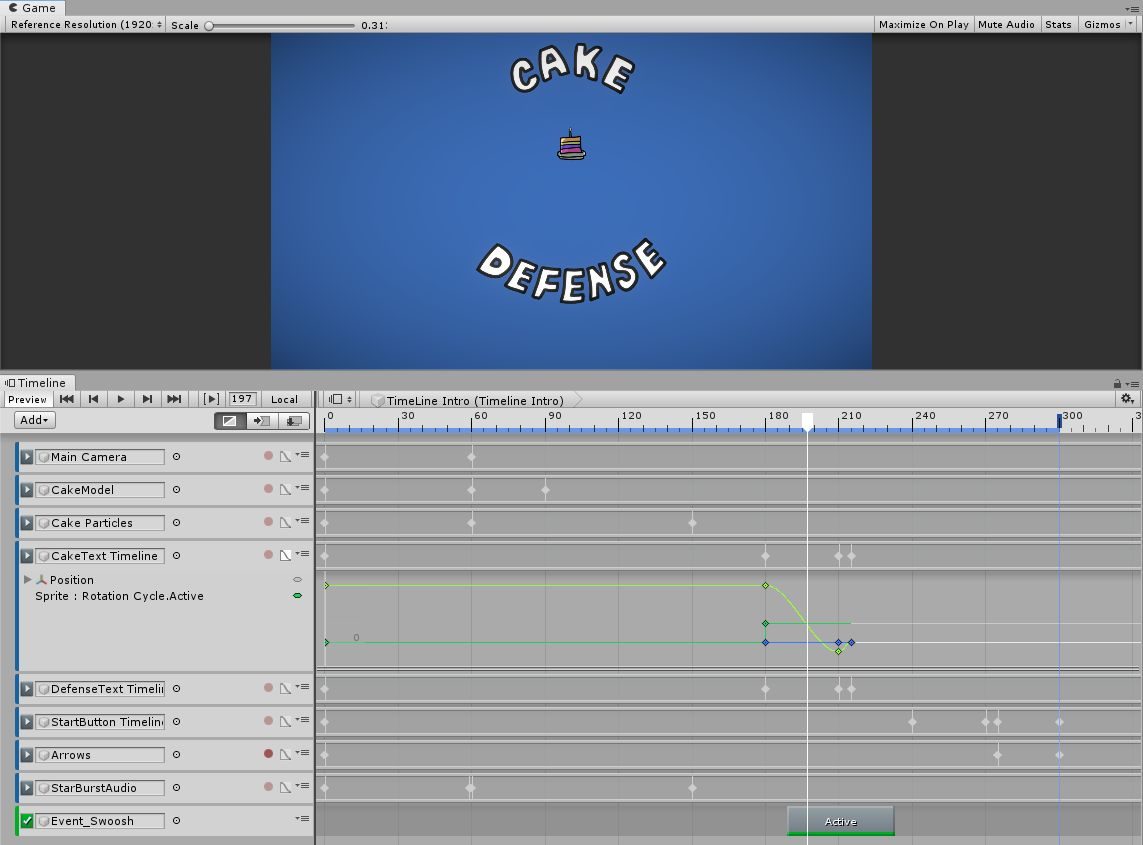 A screenshot of the Unity Timeline, showing a frame of the Cake Defense intro sequence.
