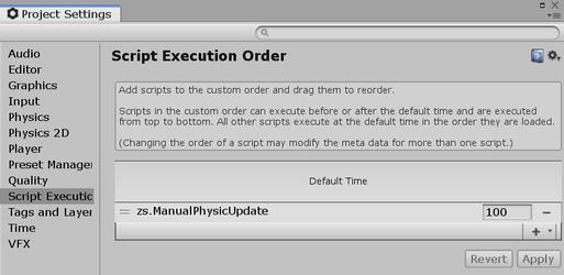 ManualPhysicUpdate component in the script execution order.